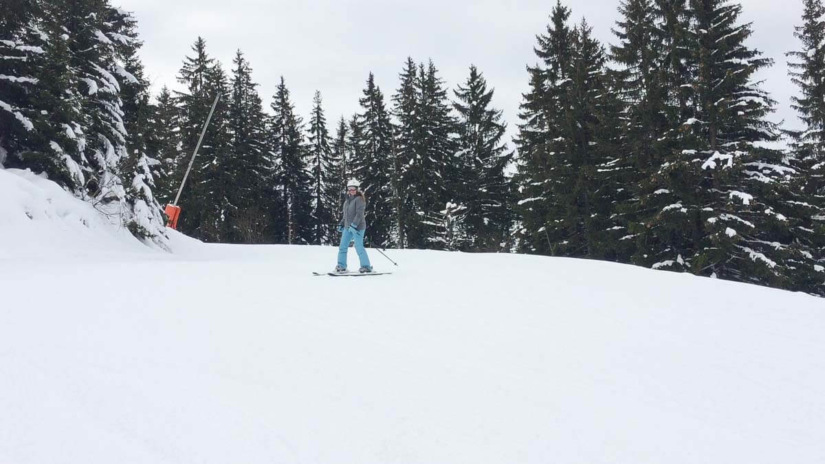 Skiing in Morzine, France - Skiing the blue slope