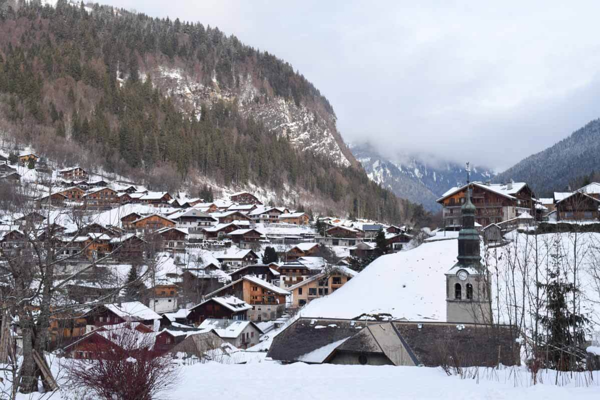 Skiing in Morzine, France - town with view